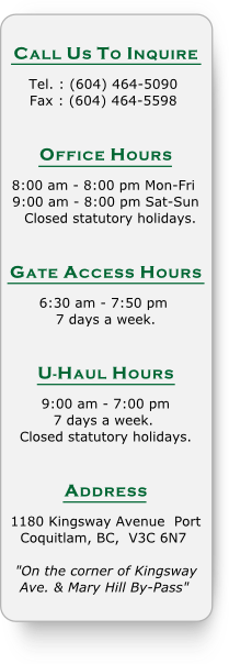Business and Gate Access Hours