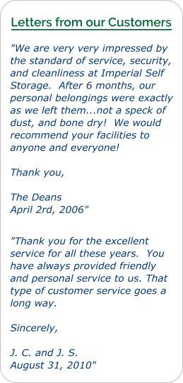 Customer letter of recommendation for Imperial Self Storage